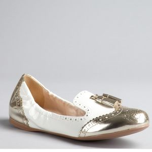 Prada Patent Leather White & Gold Tassel Loafer